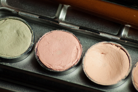 defects: Professional cosmetic. Cream concealer palette in metal case. Working with skin defects. Stock Photo