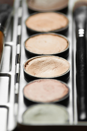 concealing: Professional cosmetic. Cream concealer palette in metal case. Working with skin defects. Stock Photo