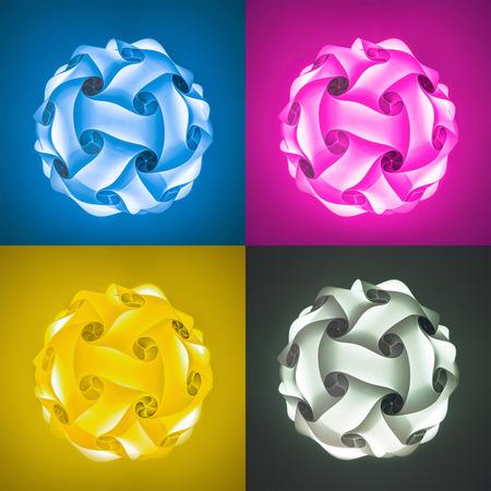 lampshades: Glowing polygon lampshades Stock Photo