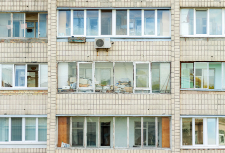 prefabricated house: Balconies in a modern pre-fabricated house. Kiev, Ukraine. European travel photo.