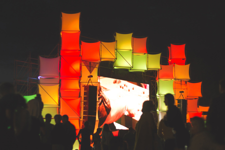 rgb: The stage is decorated with glowing cubes RGB Stock Photo