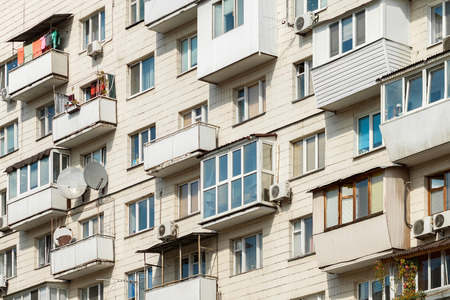 prefabricated building: Balconies of old pre-fabricated building Stock Photo