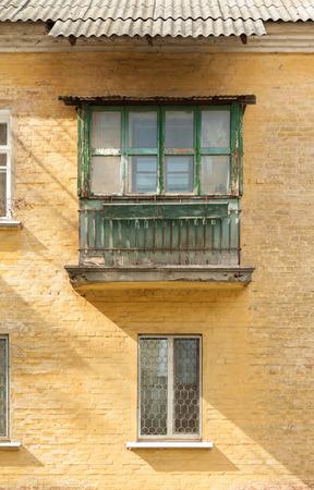 nostalgy: Balcony of the old grunge house Stock Photo