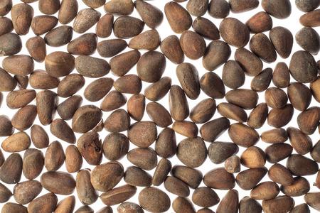 pinoli: Pine nuts on white background Archivio Fotografico