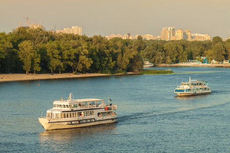 Vessels on the Dnieper River Stock Photo