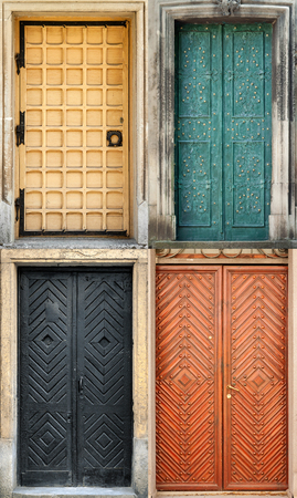 transom: Set of 4 old doors and from Lvov, Ukraine. Examples of world architectural heritage.