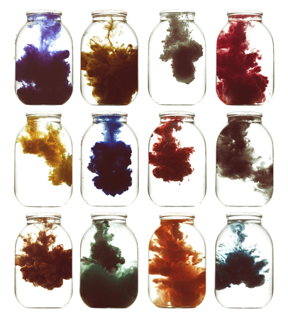 pallette: Splashes of paint in a glass jar. Psychedelic poster.