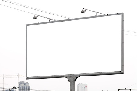 Blank horizontal billboard against a sky. Background for mock-up. Stock Photo
