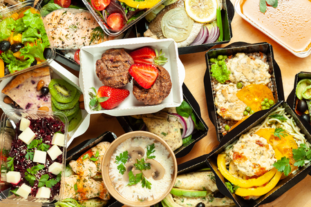 Varieties of cardboard boxes with delicious and healthy food