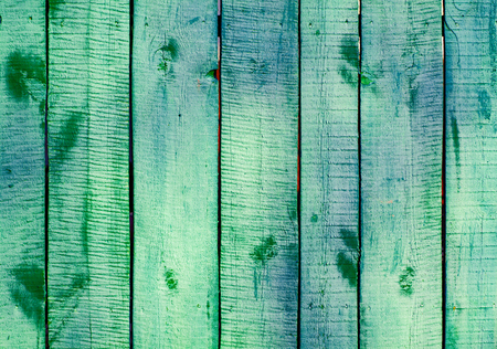 Turquoise wooden planks on direct sunlight. Flat view Stock Photo