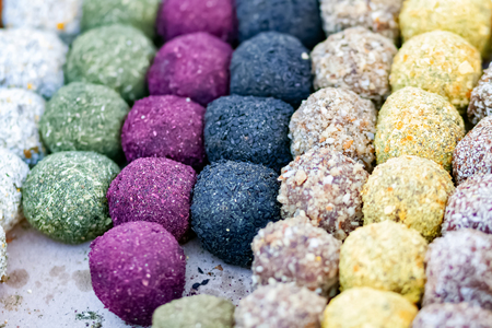 Organic natural sweets. Sugar-free vegan candies closeup
