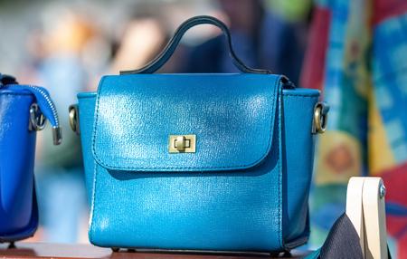 Fashionable ladies handbag made of blue leather