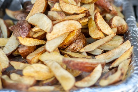 Potatoes sliced and baked in foil.