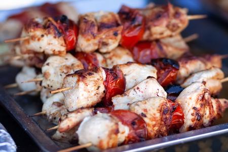 Tasty shish kebab cooking process background.