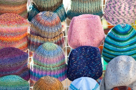 A lot of knitted hats. Market Showcase