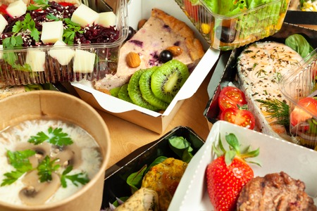 A lot of cardboard boxes with food. Delicious and healthy food Stock Photo