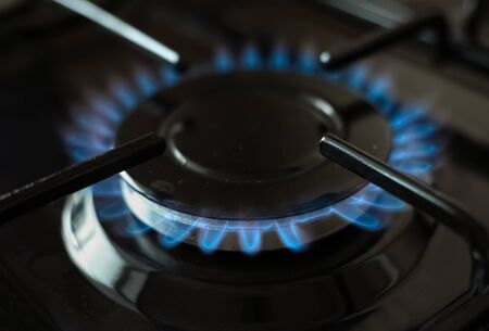 Cooking surface. Blue flame of gas stove. 写真素材