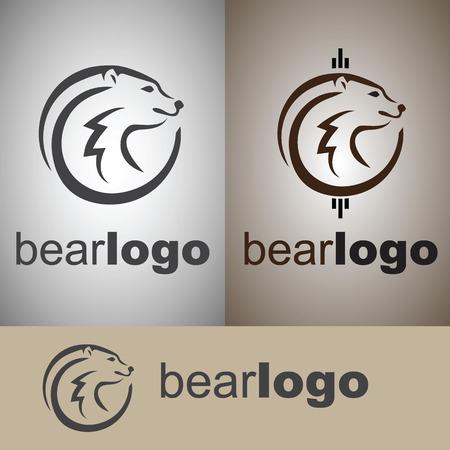 bear logo from wild life set Vettoriali