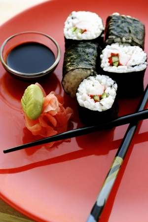 soy sauce: Sushi with soy sauce Stock Photo