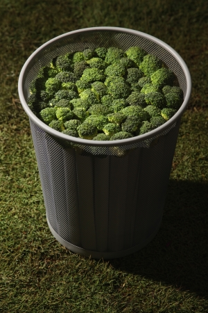overflows: Dustbin filled with broccoli