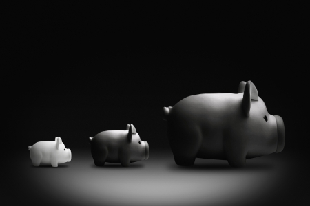 money matters: Piggy banks lined in a row according to size