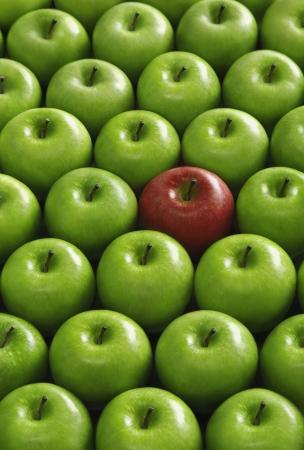amongst: Red apple amongst green apples