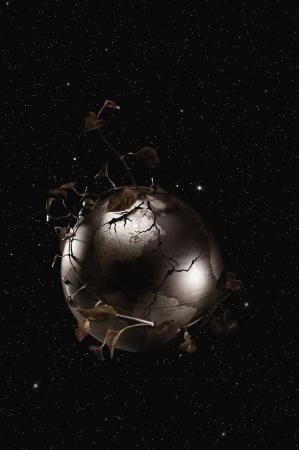 twirling: Leaves twirling around globe