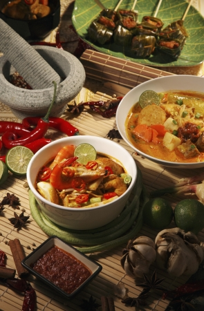 Lontong, curry noodle and barbeque pandan chicken photo