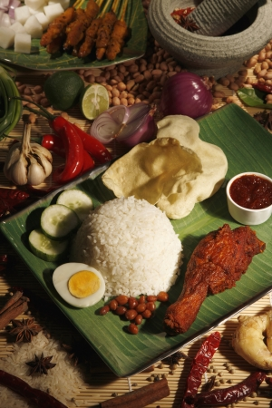 Nasi lemak with fried chicken photo