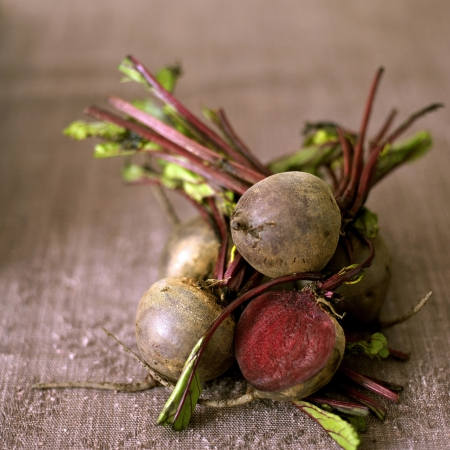 medium shot: High angle close up of some beetroot