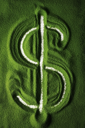 Dollar sign drawn in colour sand