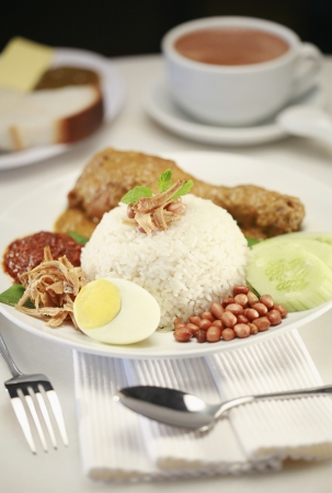 Nasi lemak with chicken rendang photo