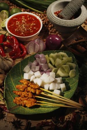 compressed rice: Meat skewers