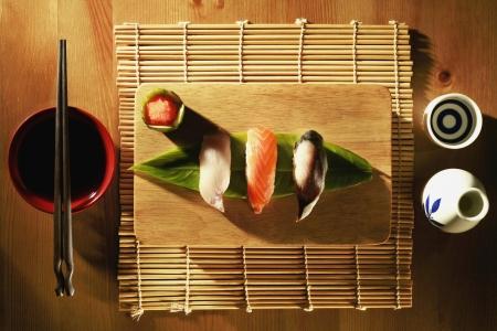 sake: Sushi on chopping board