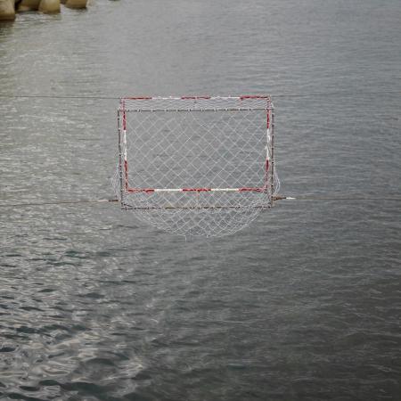 waterpolo: El water polo meta Foto de archivo