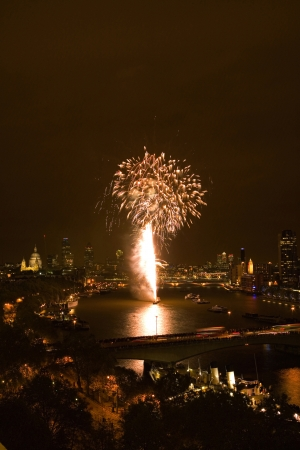 Fireworks over River Thames photo