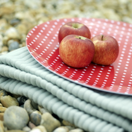 Tres manzanas rojas en una manta de picnic plegable photo