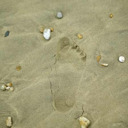 A single footprint on sand photo