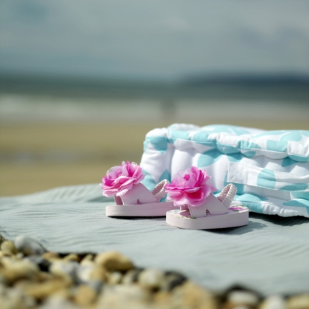 picnic blanket: Coj�n y zapatos de beb� en una manta de picnic
