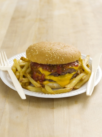 Double cheeseburger and fries photo