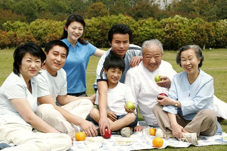 sons and grandsons: A big family picnicking in the park