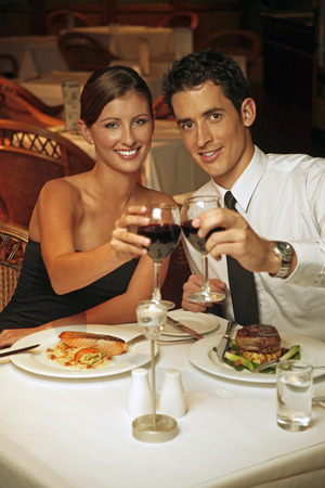 cherishing: A couple proposing a toast Stock Photo