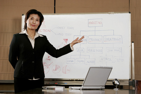 desirous: Business woman showing the chart on the white board  Stock Photo