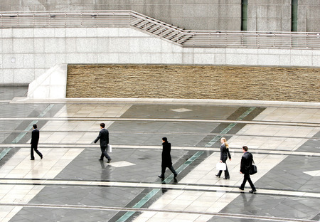 A group of business people heading to their office