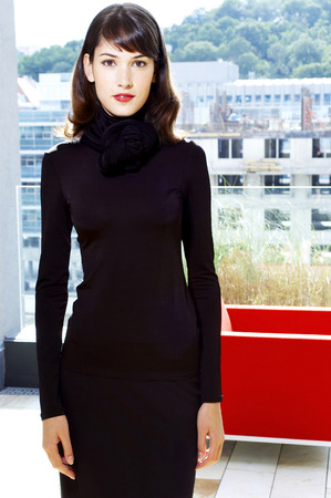 the latest models: Woman in black dress
