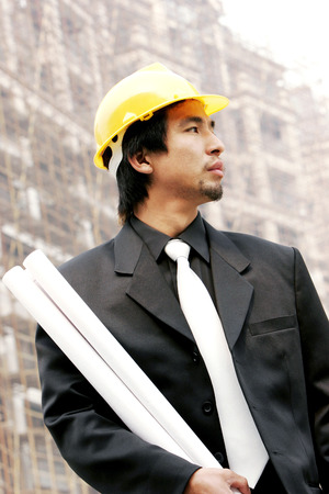 An architect at a construction site  photo