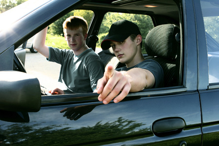 Two boys sitting in a car  photo