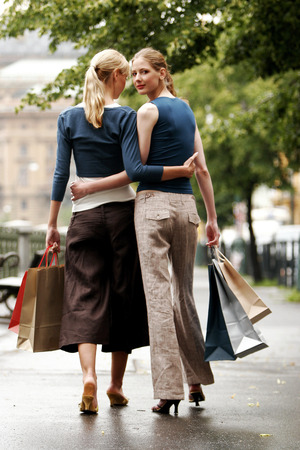 A lesbian couple after shopping