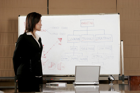 aspirant: Business woman looking at the chart on the white board  Stock Photo