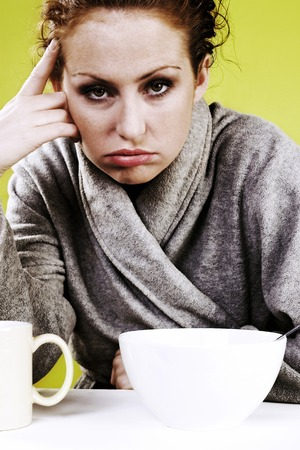 Woman having a bad morning Stock Photo